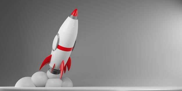 Le vaisseau spatial de fusée de dessin animé décolle
