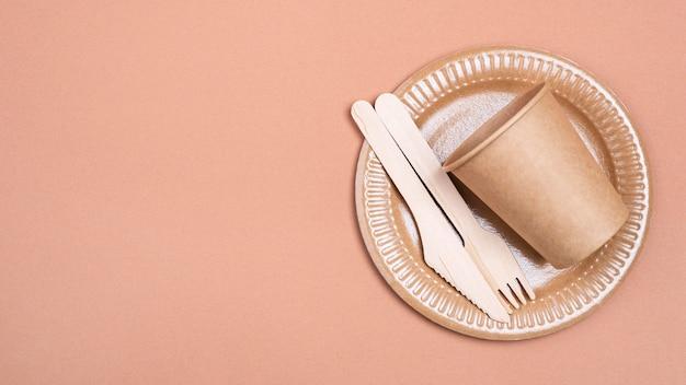 Vaisselle biodégradable zéro déchet flay lay