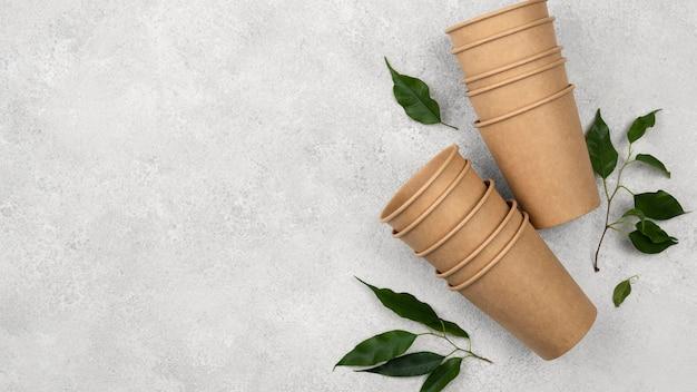 Vaisselle jetable écologique et laisse un espace de copie