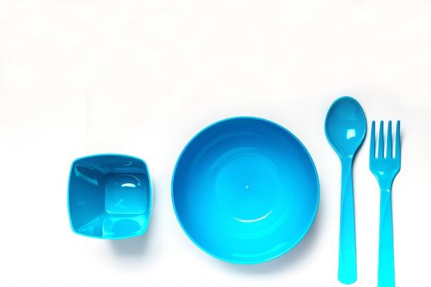 Vaisselle jetable en plastique bleu