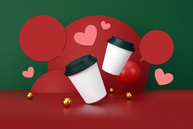 Valentin concept tasse de café blanc sur fond vert et rouge illustration 3d
