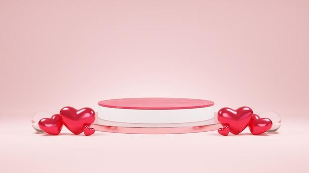 Valentine day rouge et blanc maquette minimaliste podium vitrine piédestal sur rose
