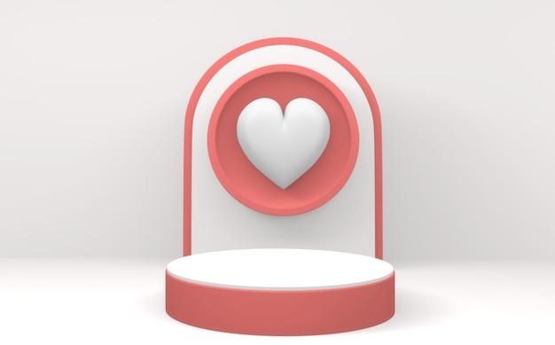 Valentine le podium rose affiche un design minimal sur fond blanc. rendu 3d