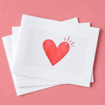 Valentines cartes dans une pile