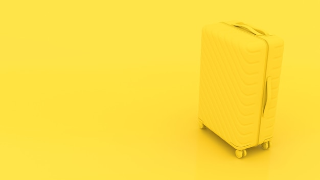 Valise 3d jaune sur fond jaune