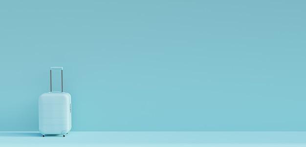 Valise bleue sur fond bleu. concept de tourisme et de voyage. style minimaliste. rendu 3d