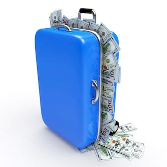 Valise bleue pleine de billets d'un dollar