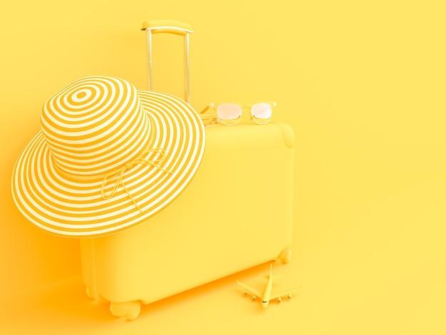 Valise de couleur jaune avec des lunettes de soleil avec chapeau. concept d'été et style minimal