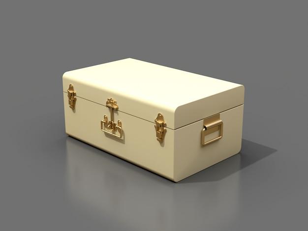 Valise en cuir blanc ivoire avec fermoirs exquis