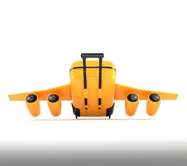 Valise jaune avec roues, ailes et moteurs.
