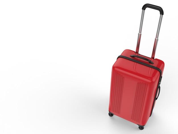Valise rigide rouge rendu 3d