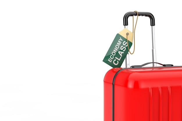 Valise rouge avec étiquette d'étiquette de classe économique de vol de bagage à main sur un fond blanc. rendu 3d
