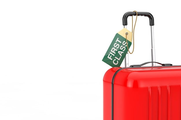 Valise rouge avec étiquette d'étiquette de première classe de vol de bagage à main sur un fond blanc. rendu 3d