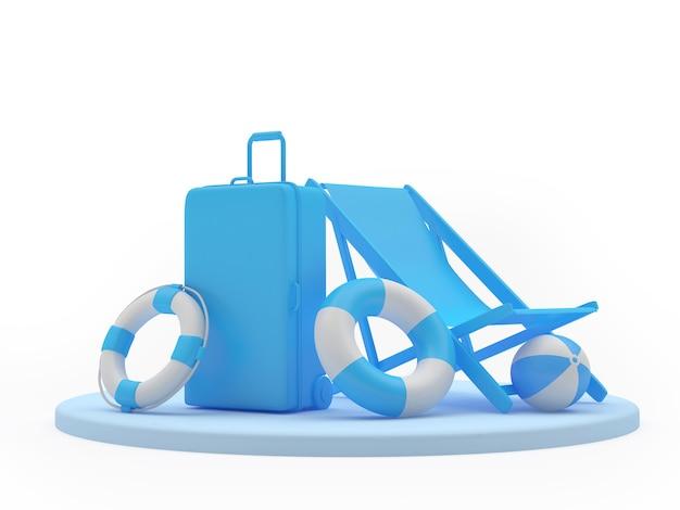 Valise de voyage avec chaise longue et bouées de sauvetage sur pied