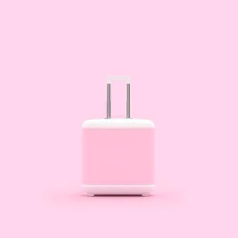 Valise de voyage couleur pastel rose isolé