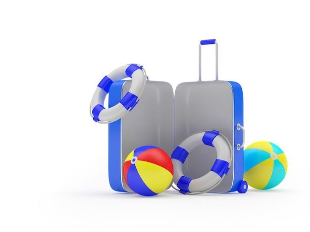 Valise de voyage ouverte avec ballons de plage et bouées de sauvetage