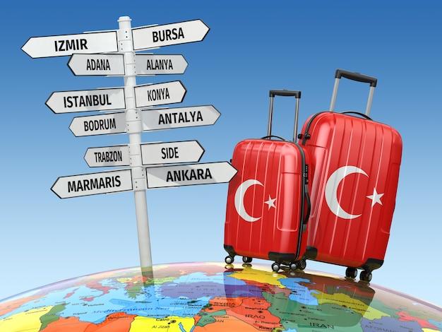 Valises et panneau que visiter en turquie 3d