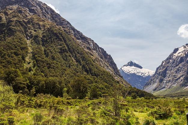 Vallée entre montagnes enneigées et collines sur la route du parc national de nouvelle-zélande