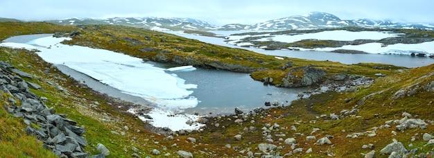 Vallée de la toundra d'été des montagnes du nord de la norvège et petits lacs