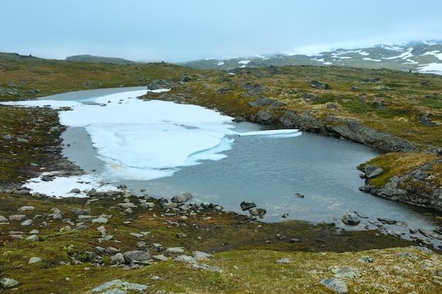 Vallée de la toundra printanière de la norvège du nord et petites flaques d'eau