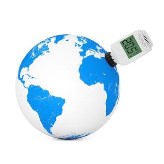 Vanne thermostatique de radiateur sans fil numérique connectée au globe terrestre sur fond blanc. rendu 3d