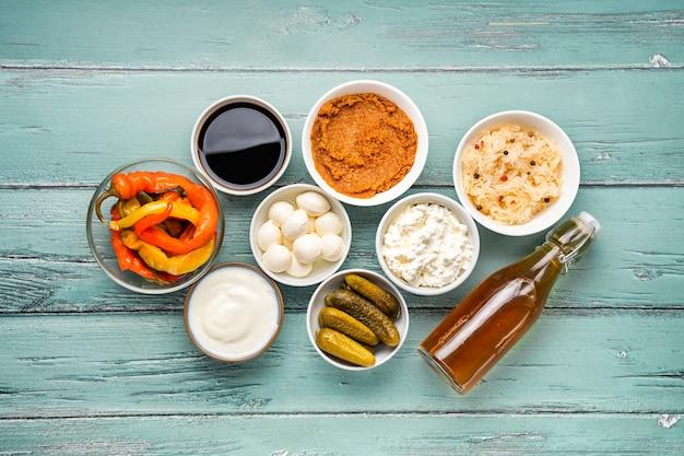 Variété d'aliments fermentés