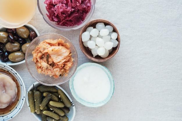 Variété d'aliments probiotiques fermentés pour la santé de l'intestin