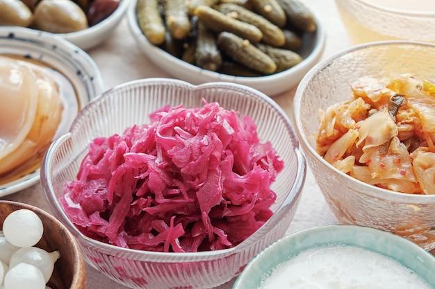Variété d'aliments probiotiques fermentés pour la santé intestinale