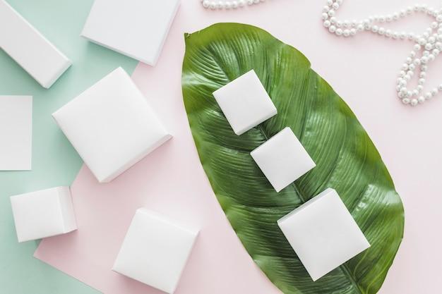 Variété de boîtes blanches sur fond de papier rose et vert avec feuille verte