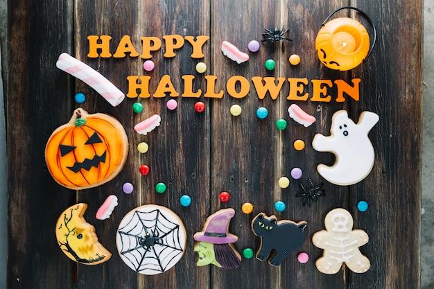 Variété de bonbons pour la fête d'halloween