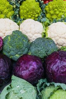 Variété de cabbagges. chou-fleur, brocoli, romanesco. fond végétarien. journée saine.