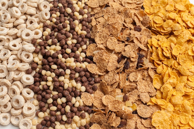 Variété de céréales froides, petit déjeuner rapide pour les enfants