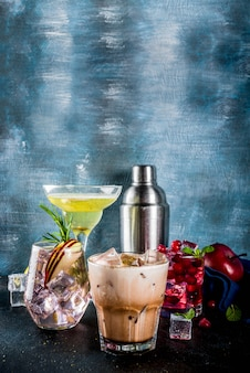 Variété de cocktails d'hiver froid
