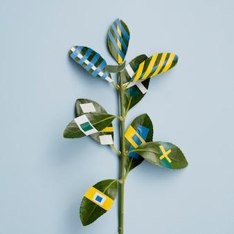 Variété de dessins de peinture de ficus feuilles fond bleu