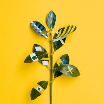 Variété de dessins de peinture de ficus feuilles fond jaune