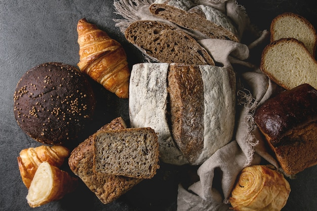 Variété de pain frais