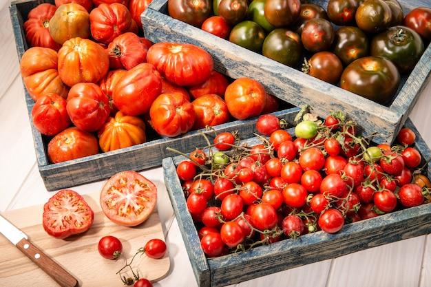 Variété de tomates fraîches dans des caisses