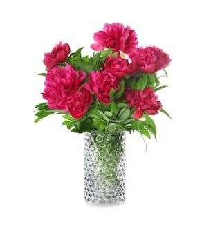 Vase avec de belles fleurs de pivoine sur une surface blanche
