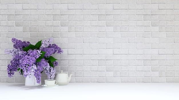 Vase de fleur pourpre avec pause thé sur fond de brique - rendu 3d