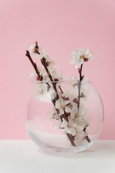 Vase en verre avec des fleurs d'abricotier sur fond rose. cadre vertical.