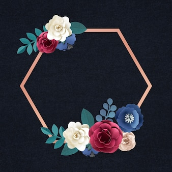 Vecteur d'insigne de fleur d'artisanat en papier hexagonal