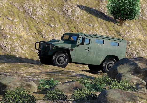 Véhicule blindé militaire vert hors route qui monte en montagne avec un terrain accidenté.