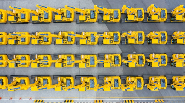 Véhicule de construction d'excavatrice, groupe de vue aérienne d'excavatrice.