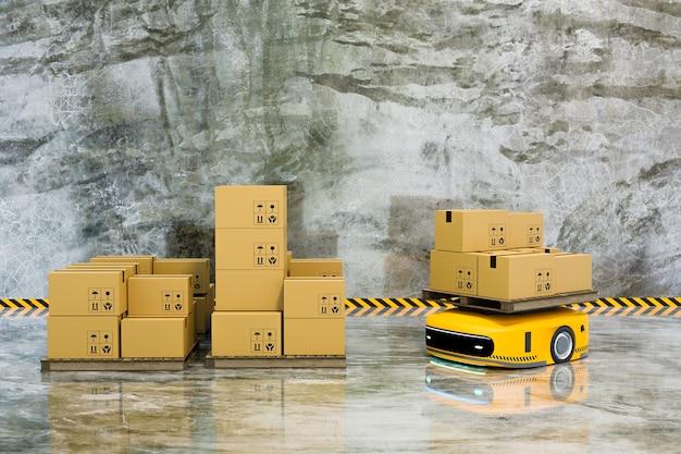 Véhicule de guidage automatique (agv) avec boîte de colis, concept d'entreprise logistique, rendu d'illustration 3d
