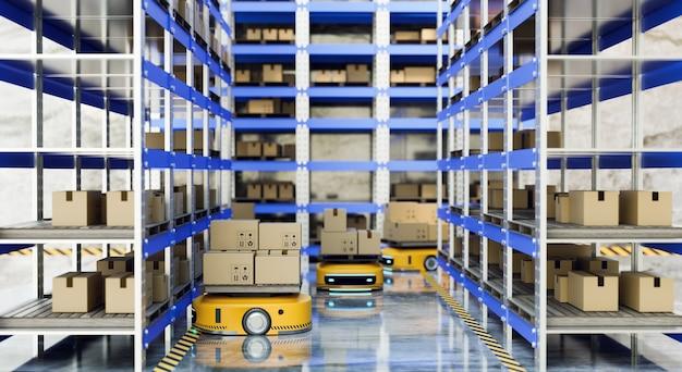 Véhicules à guidage automatique (agv) transférant la boîte à colis et les produits à l'entrepôt, rendu d'illustrations 3d