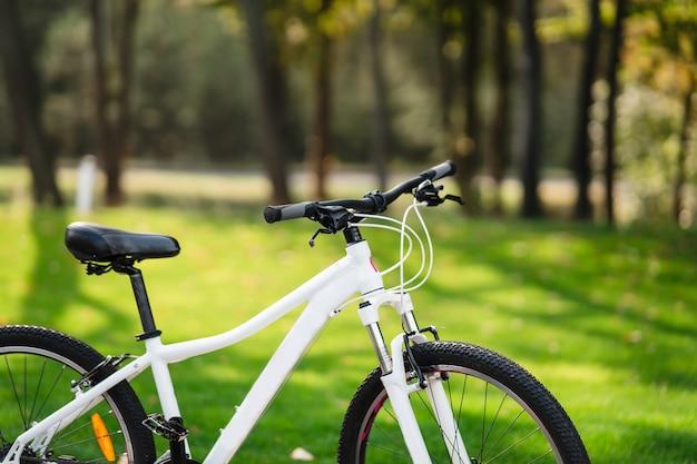 Vélo blanc debout dans le parc. remise en forme matinale, solitude.