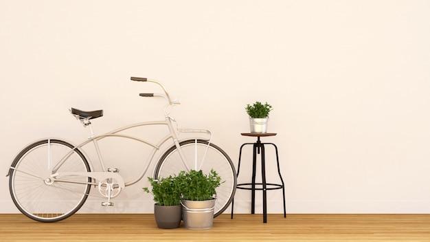 Vélo blanc perlé et jardin intérieur