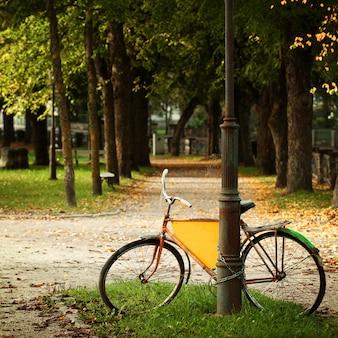 Vélo dans le parc estonien, carte postale de la culture européenne