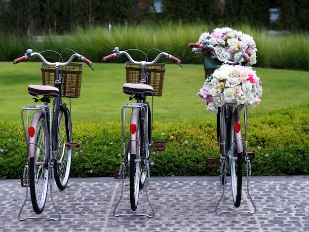 Vélo, fleur, pelouse dans le jardin