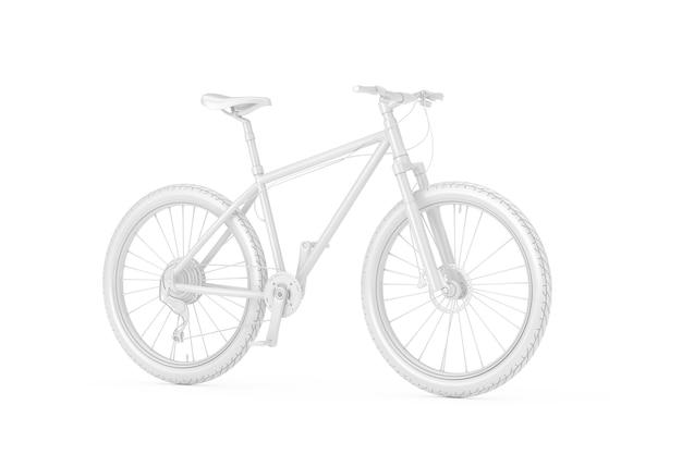 Vélo de montagne blanc en style argile sur fond blanc. rendu 3d